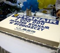 2 miliony pasażerów Ryanair w Bydgoszczy