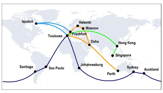 A350 XWB route