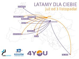 Mapa połączeń 4You Airlines