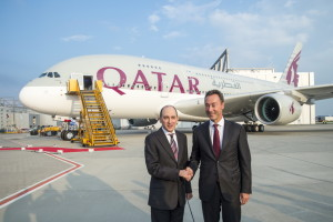 Handing over Qatar Airways new A380 flagship