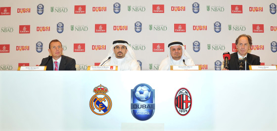 emirates_and_dtcm_announce_dubai_football_challenge_2014._real_madrid_v_ac_milan._ltor._emilio_butragueno_real_madrid_sheikh_majid_al_mualla_emirates_hamad_bin_mejren_dtcm_franco_baresi_ac_milan