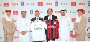 emirates_and_dtcm_announce_dubai_football_challenge_2014._real_madrid_v_ac_milan._sheikh_majid_al_mualla_emirates_emilio_butragueno_real_madrid_franco_baresi_ac_milan_hamad_bin_mejren_dtcm